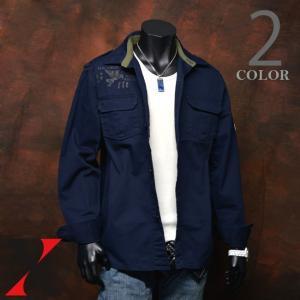 ミリタリーシャツ メンズ 長袖 ワッペン付き エポーレット ミリタリージャケット シャツ ミリタリー メンズ シャツ 長袖 肩章 エ|y-fit