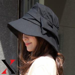 帽子 レディース リボン ハット つば広 UV 女優帽 折り...