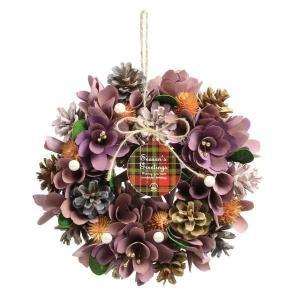 《 クリスマス リース 》◆とりよせ品◆SG Wonder zone ★リース 25cm 自然素材 壁掛け 飾り ラベンダー×ピンクの画像