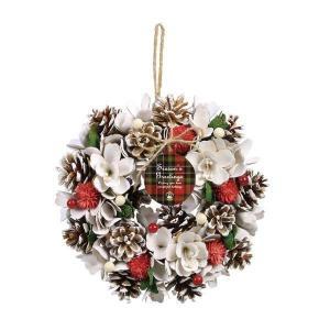 《 クリスマス リース 》◆とりよせ品◆SG Wonder zone ★リース 25cm 自然素材 壁掛け 飾り ホワイト×スノーの画像