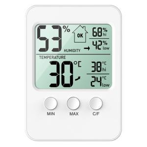 ORIA デジタル温湿度計 温度計 湿度計 室内 LCD大画面 高精度 置き・掛け・貼り三用 マグネ...
