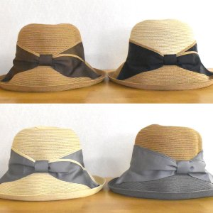 帽子 サイドリボン巻きブレードセーラーハット 紫外線対策 UVケア (宅配260円で発送)|y-kanehoshiya