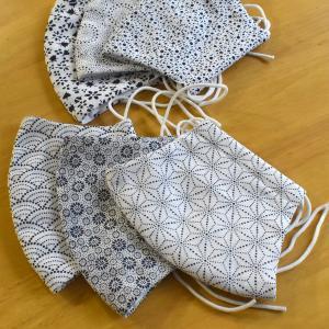 マスク 布マスク 伊勢木綿 伊勢型紙柄 手作りマスク 綿100% 爽やかな和柄|y-kanehoshiya