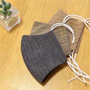 マスク 布マスク 柿渋染め 手作りマスク 綿100% 天然消臭抗菌効果のある柿渋染め生地で作りました|y-kanehoshiya