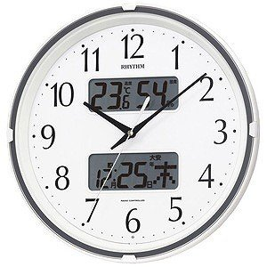 リズム時計工業 電波掛け時計「フィットウェーブリブ」 4FY...