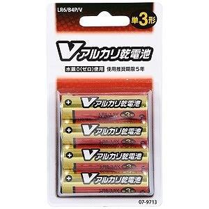 オーム電機 アルカリ乾電池単三4本パック ブリスター LR6...