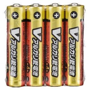 オーム電機 アルカリ乾電池単四4本パック LR03S4PV...