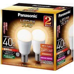 パナソニック 調光器非対応LED電球「LED電球プレミア」(電球色相当・口金E17/2個入) LDA4LGE17Z40ESW2T
