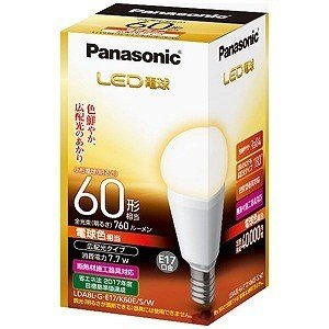 パナソニック 調光器非対応LED電球(電球色相当・口金E17) LDA8LGE17K60ESW