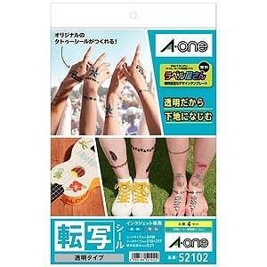 エーワン インクジェット専用転写シール 透明タイプ(A4サイズ・4セット) 52102