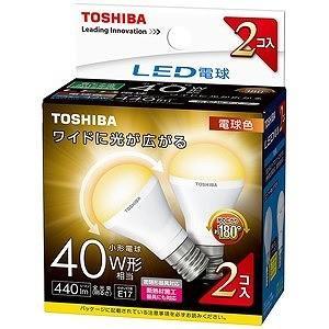 東芝 ミニクリプトン形LED電球(小形電球形・全光束440lm/電球色相当・口金E17/2個入) LDA4L−G−E17/S40W2P