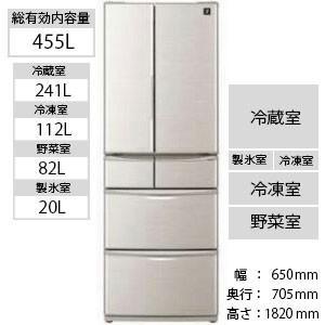 シャープ 6ドア冷蔵庫 (455L) SJ−F462D−S シルバー系(標準設置無料)|y-kojima
