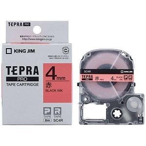 キングジム テプラ カラーラベルテープ(赤テープ/黒文字/4mm幅) SC4R|y-kojima