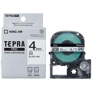 キングジム テプラPROテープカートリッジ(白ラベル・4mm) SS4K (白/黒文字)|y-kojima