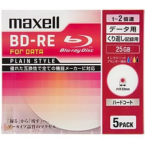 マクセル データ用BD−RE「Plain style」(1−2倍速対応/25GB)5枚パック BE25PPLWPA.5S|y-kojima