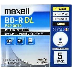 マクセル 1−4倍速対応データ用ブルーレイディスクBD−R DL(50GB・5枚)  BR50PPLWPB.5S