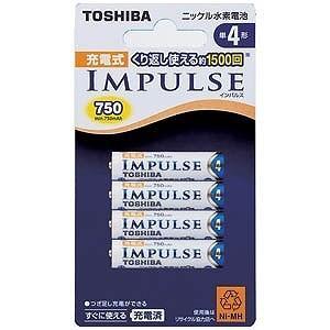 東芝 充電池(単4形4本入)「充電式IMPULSE」 TNH‐4A 4P