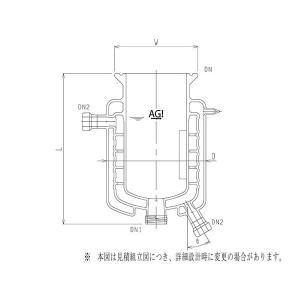 旭製作所 媒体バッフル付三重管式反応容器 メッキ・撹拌バッフル付 3972-6000-M-AP 1個 62-2116-19(直送品)