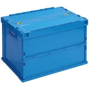 サンコー 折りたたみコンテナ ペタンコ Cー60B フタ一体型 60Lタイプ オールブルー 1セット(10個:5個入×2箱)|y-lohaco