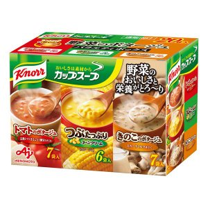味の素 クノール カップスープ 野菜のポタージュ バラエティボックス(完熟トマト・つぶコーン・きのこ)3種20食入|y-lohaco