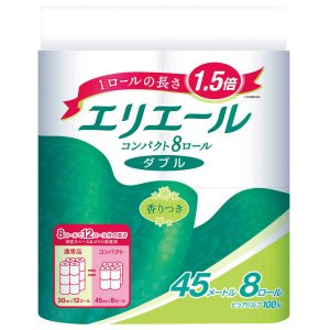 トイレットペーパー 8ロール入パルプ ダブル 45mリラックス感のある香り エリエールトイレットティシューコンパクト 1パック(8ロール入) 大王製紙|LOHACO PayPayモール店