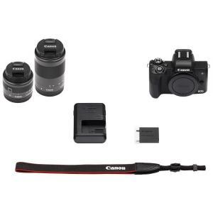 デジタルカメラ キヤノン EOS KISS M EOSKISSMBK-WZK ミラーレス 一眼カメラ ダブルズームキット ホワイト Canon|y-lohaco|05