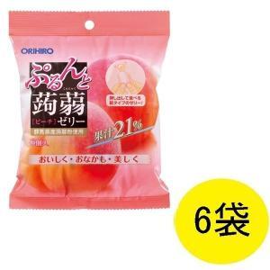 アウトレット ぷるんと蒟蒻ゼリー パウチタイプ ピーチ味 1セット(6個入×6袋) オリヒロ