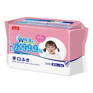ウェットティッシュ ノンアルコール 80枚入×3パック 水99.9%手・口ふき アイプラス