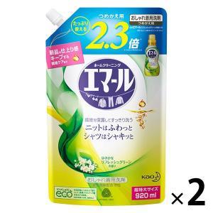 アウトレット 花王 エマール ほのかなリフレッシュグリーンの香り 詰め替え 920mL 1セット(2個:1個×2)