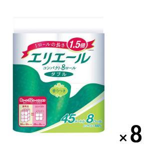 トイレットペーパー 8ロール入×8パック パルプ ダブル 45m 香り付 エリエールトイレットティシ...