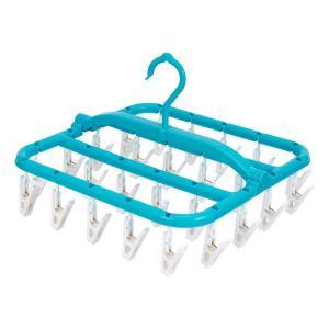 スーパー小物まとめ干し 洗濯ハンガー ブルー 26ピンチ レック