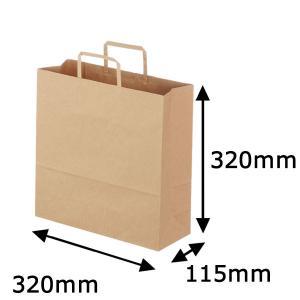 平紐クラフト紙手提袋薄型エコノミー320×320×115 茶 1袋(50枚入)|LOHACO PayPayモール店