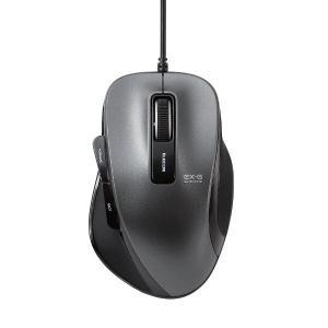 エレコム 有線マウス Mサイズ ブラック ブルーLED式/5ボタン/静音タイプ/握りの極み M-A-BL06UBSBK|y-lohaco