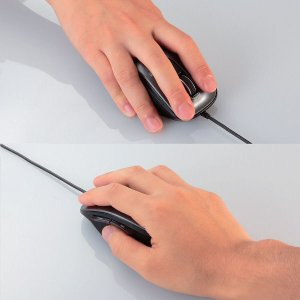 エレコム 有線マウス Mサイズ ブラック ブルーLED式/5ボタン/静音タイプ/握りの極み M-A-BL06UBSBK|y-lohaco|04