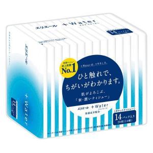 ポケットティッシュ エリエール+Water 1箱(14組×14個入) 大王製紙