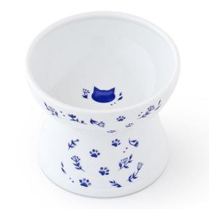 ロハコ限定 ハッピーダイニング 猫用 脚付フードボウル シリコン付き L ネイビー 1個 猫壱