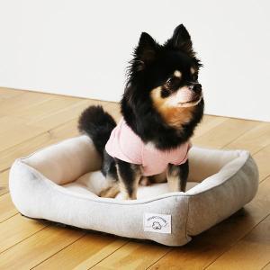 ロハコ限定 犬用ベッド あごのせスクエアベッド オーガニックコットン100% 染料/竹炭グレー S ...