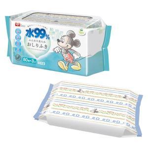ディズニー ミッキー&ミニー 水99%おしりふき 1パック(80枚入×3個) レック