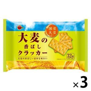 ブルボン 大麦の香ばしクラッカー 4枚×8袋  国産小麦使用  3袋