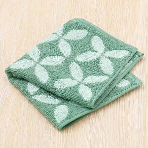 アウトレット  30%OFF セール ハンカチタオル ジャガード ブルーグリーン(緑) Hydrangea 1枚 抗菌防臭加工 ロハコオリジナルの画像