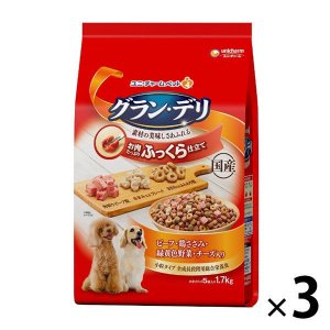 グランデリ ふっくら仕立て ビーフ・鶏ささみ・野菜 ・チーズ入 1.7kg(小分け5袋)国産 3袋 ドッグフード 犬 ドライの画像