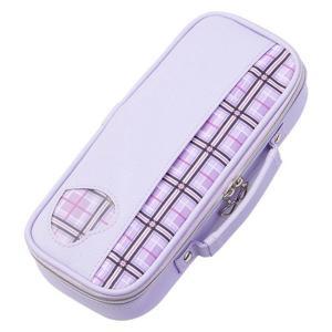 トップライナーペンケース チェック バイオレット 紫 筆箱 FSB145V レイメイ藤井