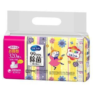 ウェットティッシュ シルコット 99.99%除菌 ムーミンデザイン 詰替 1パック(40枚入×8個) ユニ・チャーム