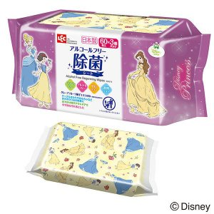 ディズニー プリンセス ウェットティッシュ 除菌ノンアルコール 1パック(60枚入×3個) レック