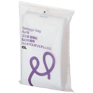 アスクル 乳白半透明ゴミ袋 低密度タイプ 詰替え 45L PCUY6 1パック(100枚入)