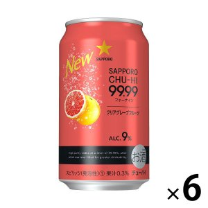 サッポロビール サッポロチューハイ 99.99(フォーナイン) クリアグレープフルーツ 350ml × 6缶|y-lohaco