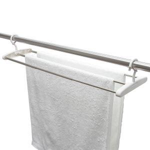 伸縮 竿掛け バスタオルハンガー ステンレス製 1個 レック
