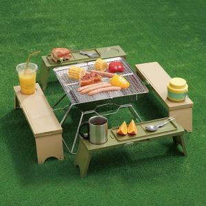 アウトドア テーブル PICNO(ピクノ)1台 カーキ 組立時:約幅12×奥行41.7×高さ13cm I-569-1 伊勢藤 y-lohaco