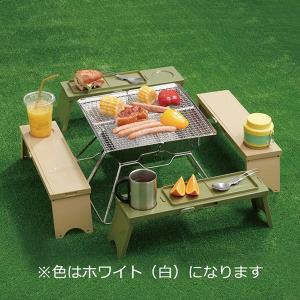 ワゴンセール アウトドア テーブル PICNO(ピクノ)1台 ホワイト 組立時:約幅12×奥行41....