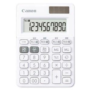 キヤノン カラフル電卓 LS-100WT-SW スノーホワイト 10桁 ミニミニ卓上サイズ W税機能...
